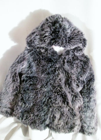 Girls Kids AMERICAN WIDGEON Vegan Faux FUR jacket coat 6 PURPLE GRAY Hood Youth
