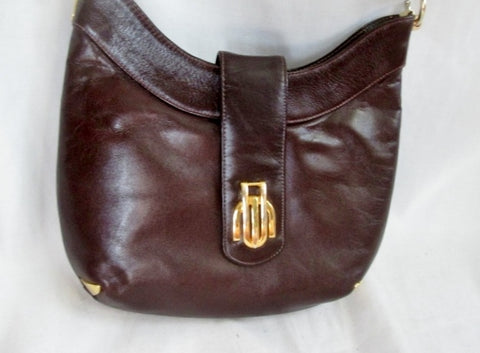 Vtg SUSAN GAIL Leather Hobo Handbag Satchel Purse Shoulder Saddle Bag BROWN GOLD