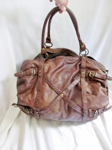BIG BUDDHA Vegan Faux Leather Shoulder Bag Tote Handbag Satchel Hobo BROWN XL