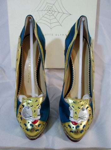 NEW CHARLOTTE OLYMPIA NINIVAH PUMP LEOPARD Shoe 36.5 6 BLUE GOLD Platform