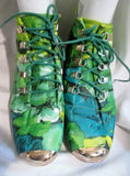 Womens BUMPER NICKY Vegan Floral Ankle BOOTS Booties Shoes GREEN 10 WILD