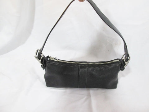 COACH 7461 EAST WEST LEATHER Signature Bag Clutch Baguette Purse BLACK Shoulder
