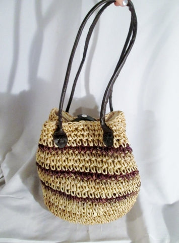 NEW CHARTER CLUB Woven RAFFIA Straw Basket Sling Satchel Shoulder Bag Purse BEIGE