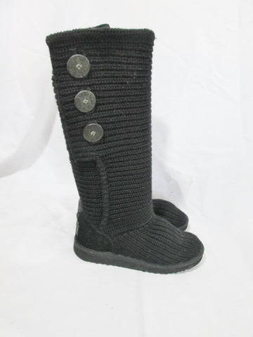 Womens UGG AUSTRALIA 5819 CLASSIC CARDY KNIT Sweater BOOTS 7 BLACK Shoe