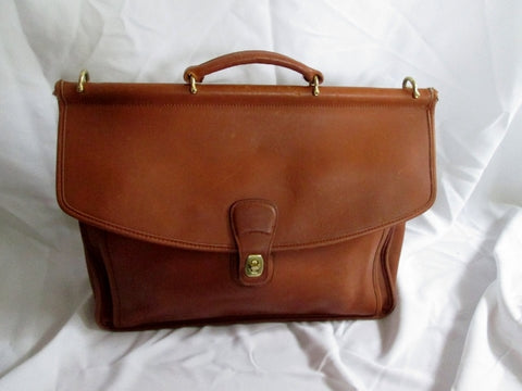 COACH 5266 BEEKMAN Leather Turnlock Shoulder Bag Briefcase Attache BROWN Flap