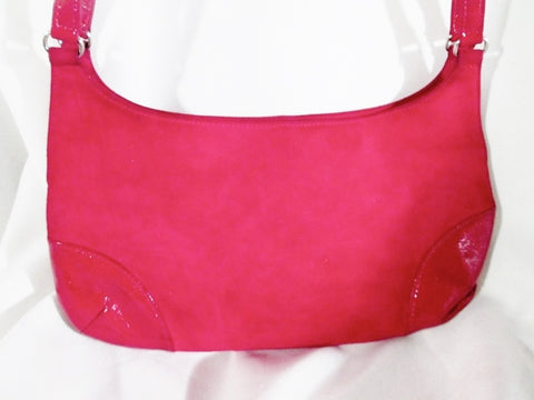 BANANA REPUBLIC Suede Leather Hobo Handbag Satchel Purse BERRY PINK S