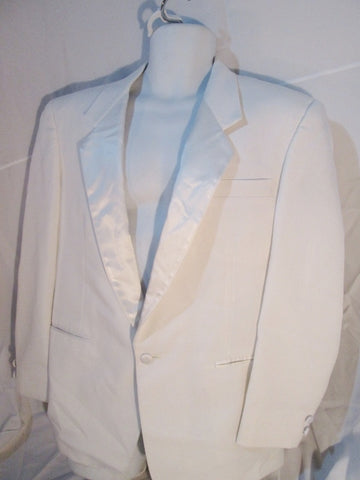 Vintage 70s 80s Miami Vice After Six Tuxedo Sport Jacket Suit Blazer 41S WHITE Formal