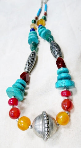 Native TURQUOISE STONE SILVER Bead Necklace Jewelry Southwestern Lapis MULTI