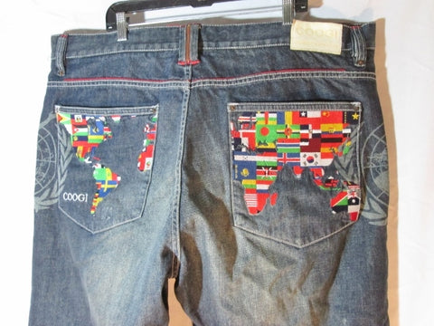 Mens COOGI Embroidered GEOGRAPHY WORLD JEAN Denim PANT 44 x 35 FLAG Colorful