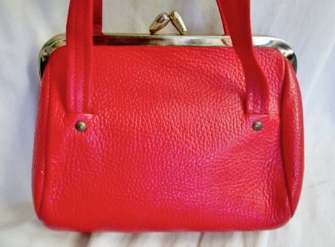 Vintage LETISSE pebbled leather satchel clutch  mini clasp purse CHERRY RED Retro