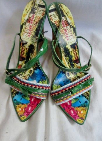 Womens MISS SIXTY ITALY Platform Wedge Leather Shoes Sandals 38 / 7.5 GREEN Multi