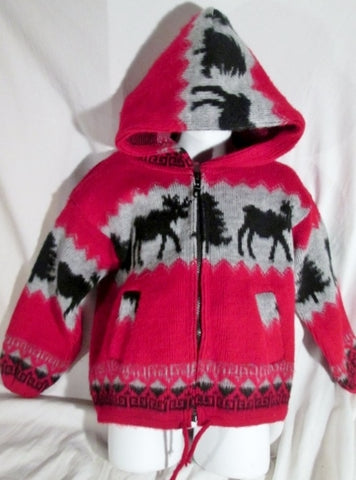 NEW Youth Kids Earth Ragz MOOSE Ethnic Hoodie  Knit Sweater M Jacket RED BLACK Cardigan