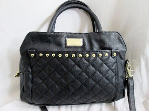 NEW BETSEY JOHNSON Quilted Vegan Satchel Bowler Bag Duffle BLACK Crossbody Lips