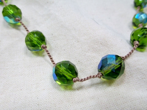 EMERALD GREEN GLASS BEADED KNOT Sterling Silver Necklace Collar Choker Red Carpet