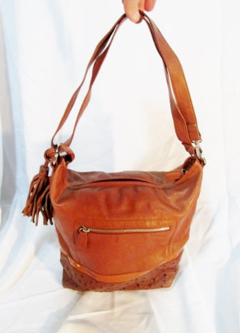 CARLOS SANTANA Faux Ostrich leather crossbody BROWN hobo bag sling purse FRINGE TASSEL