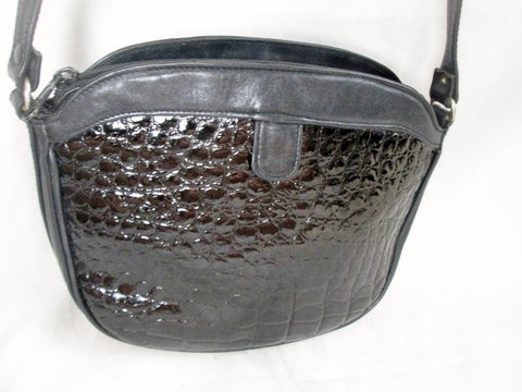Made in Italy Patent Genuine Leather Croc Shoulder Bag Crossbody Purse Hobo BLACK