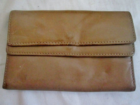 ROLFS COWHIDE COLLECTIBLES Leather Flap Coin Purse Wallet Pouch TAN TAUPE BEIGE