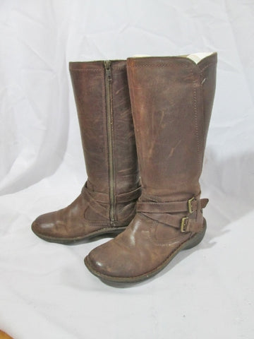 Womens UGG AUSTRALIA 1005450 ROSEN Leather Moto BOOT 7 BROWN Buckle