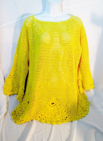 Womens Michael Simon MACRAME CROCHET Knit YELLOW Sweater 2 GOLDENROD Cotton