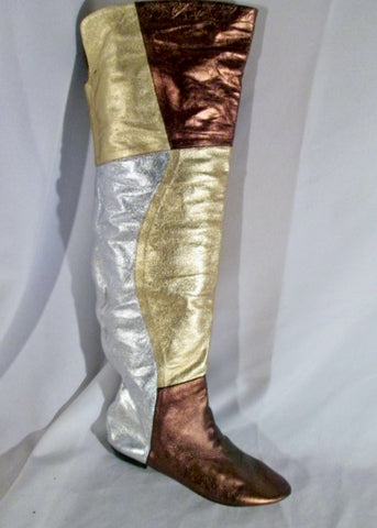 Womens Thigh High Tall Leather SILVER GOLD PEWTER Patchwork Metallic Boot 9 Steampunk Flat