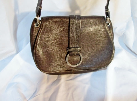 COLE HAAN Pebbled Leather Flap Hobo Bag Purse Satchel ESPRESSO BROWN Loop