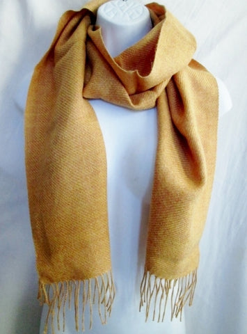 NEW Mens Womens  BABY ALPACA PERU SCARF Signature GOLD MELON RUST Fringe