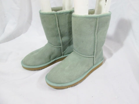 Womens Short Suede Leather Shearling Sheepskin Winter BOOT 6 AQUA BLUE