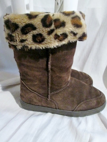 Womens STYLE&co. WITTY Suede Winter BOOTS LEOPARD CHOCOLATE BROWN 8