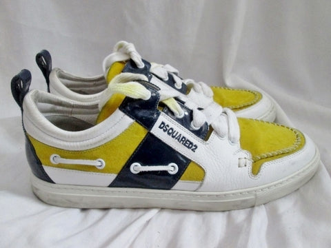 Mens DSQUARED2  ITALY Lowrise Sneaker Trainer WHITE YELLOW 9.5 Leather Eye