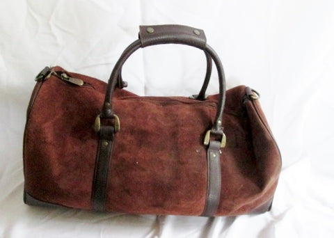 EUC SUEDE LEATHER Travel Carry-On Overnighter Luggage Duffel Bag BROWN