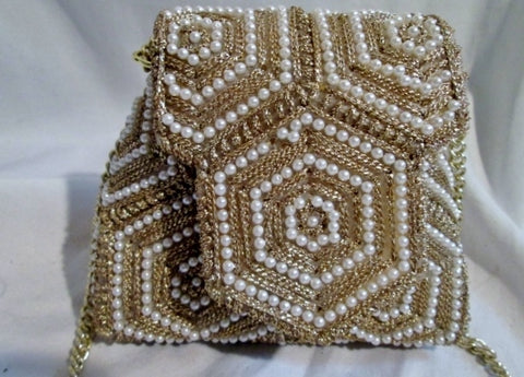 Vtg MAGID Made in Japan Mini Bead Pearl Evening Bag Box Purse Satchel GOLD WHITE