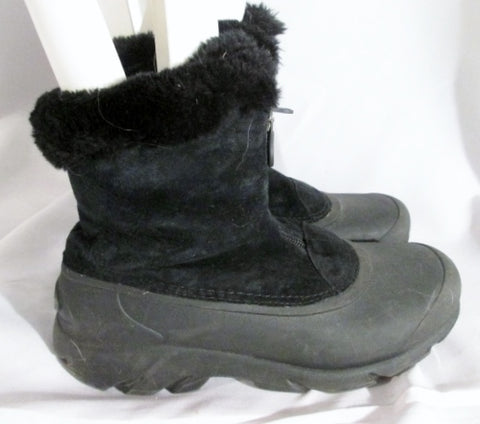 Womens SOREL SNOW ANGEL ZIP Suede Leather 8 BOOTS Booties BLACK Ankle Winter