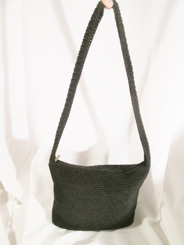 THE SAK crochet knit shoulder bag satchel hobo purse sling bucket BLACK Hobo Hippie
