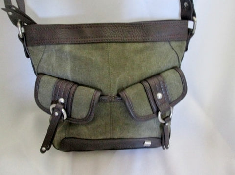 NEW BORN BOC vegan messenger saddle crossbody bag purse GREEN BROWN Pockets Stud