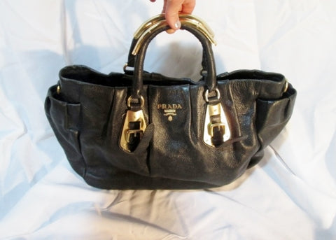 Authentic PRADA GAUFRE leather hobo satchel saddle bag tote purse BLACK GOLD