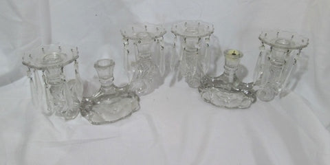 Set 2 GLASS Candelabra Candle Holder Candlestick Crystal Chandelier Dangling CLEAR