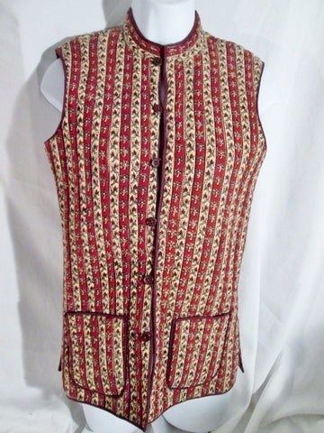 NEW Womens Handmade Reversible QUILTED Vest JACKET Coat M RED BEIGE FLORAL