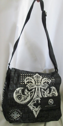 AFFLICTION METROPARK Messenger Crossbody Flap Bag Man Purse Vegan BLACK