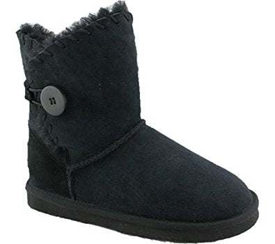 Womens LAMO ESSENTIAL SNOWMASS BUTTON Short Suede Winter BOOTS 9 BLACK Shearling