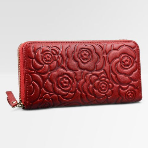 NEW Genuine HESHE Continental ZIP Wallet Organizer Leather ROSE FLORAL RED