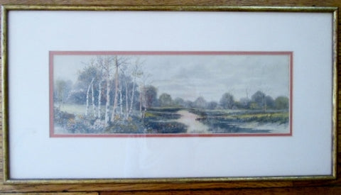 Vintage E.E. DEMOREST SUNSET Landscape Framed ART Print Tree River Marsh 22 X 12""