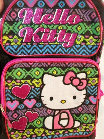 HELLO KITTY Glitter BACKPACK Shoulder Rucksack Travel School Book BAG BLACK PINK