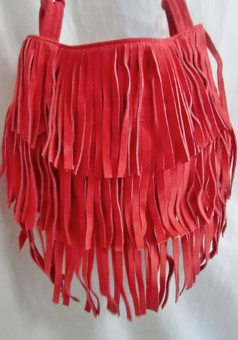 Hippie Style Suede fringe indie hobo satchel shoulder bag crossbody purse RED