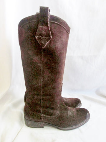 Womens SAM EDELMAN LARA Suede Leather Cowboy Western BOOTS BROWN 7 Rocker