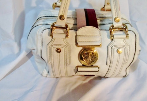 Authentic GUCCI leather satchel bowler bag tote purse WHITE GOLD RED RIBBON STRIPE