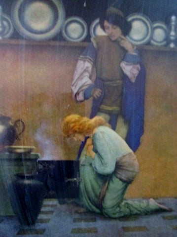 Vintage MAXFIELD PARRISH KNAVE LADY Plate Bow Floor Kitchen Poster ART Print