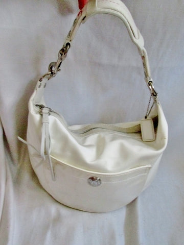 COACH 1891 SIGNATURE SATEEN Suede Hobo Handbag Satchel Purse WHITE Fringe Tassel