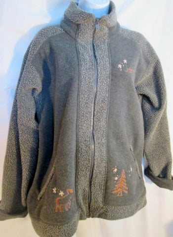 Womens L.L. BEAN FLEECE ETHNIC JACKET MOOSE coat Embroidered M GRAY