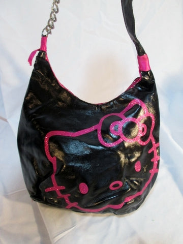 HELLO KITTY glitter hobo shoulder bag purse BLACK PINK chainlink satchel
