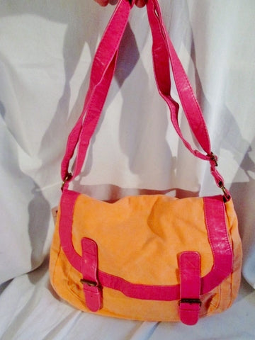 NEW NWT CLAIRE'S Canvas Crossbody Messenger Book Bag ORANGE PINK MELON Vegan